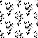Hand drawn green seamless pattern with leafy ornaments Royalty Free Stock Photo