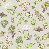 Hand drawn green vegetables seamless pattern in vector.  Healthy eating background Stock Photography