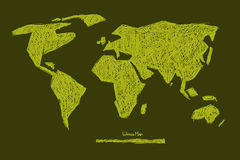 Hand Drawn Green World Map Illustration Stock Photo