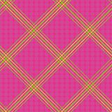 Hand drawn green and yellow diagonal neon plaid design. Seamless vector on hot pink background with subtle doodle dots. Texture. Great for summer, wellness vector illustration
