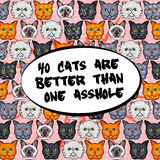 Hand drawn greeting card. 40 cats are better then one asshole vector illustration pattern. Stock Photos