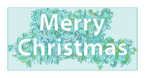 Hand-drawn greeting card with the Christmas. Stock Images