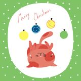 Cute Christmas cats greeting card. Hand drawn greeting card with cute funny cartoon cat lying on its back, with Christmas baubles, quote. Isolated objects on royalty free illustration