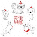 Cute dogs winter holidays greeting card stock illustration