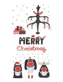 Cute and funny Christmas monsters stock illustration