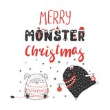 Cute and funny Christmas monsters vector illustration