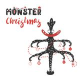 Cute and funny Christmas monster Stock Photos
