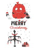 Cute and funny Christmas monsters Stock Images