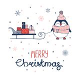 Christmas greeting card with a penguin Stock Image