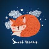 Hand drawn greeting card with cute sleeping fox royalty free illustration