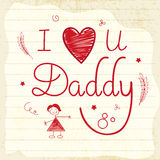 Hand drawn greeting card for Happy Fathers Day. Stock Photos