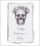Hand-drawn greeting card for Valentine's Day with roses and skull. Royalty Free Stock Photography