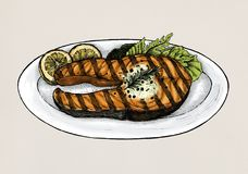 Hand drawn grilled fish steak Royalty Free Stock Images