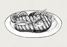 Hand drawn grilled fish steak Royalty Free Stock Photography