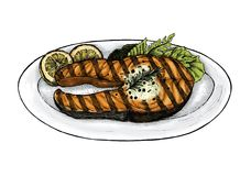Hand drawn grilled fish steak. With lemon and vegetables Royalty Free Stock Images