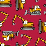 Hand drawn grips and bulldozers seamless vector pattern on red background. vector illustration