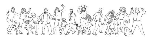 Hand drawn group of diverse dancing people stock illustration