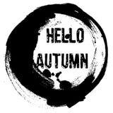 Hand drawn grunge background, text Hello autumn. Hand drawn grunge background, circle frame, text Hello autumn Stock Illustration