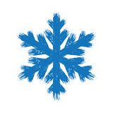 Hand drawn grunge blue brush stroke  snowflake. Winter hand drawn grunge blue brush stroke  snowflake Stock Image