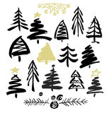 Hand drawn grunge Christmas trees. Ink painting. Vector illustration. Brush design Royalty Free Stock Photos