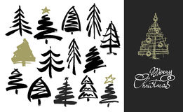 Hand drawn grunge Christmas trees. Ink painting. Vector illustration. Brush design Royalty Free Stock Photography