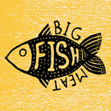 Hand drawn grunge fish. Hipster silhouette. Hand lettering. Seafood shop or restaurant design. Craft packaging template. Royalty Free Stock Images