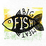 Hand drawn grunge fish. Hipster silhouette. Hand lettering. Seafood shop or restaurant design. Craft packaging template. Stock Photo