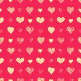 Hand drawn grunge hearts seamless pattern. Valentine`s day vector background Stock Photo
