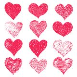 Hand drawn grunge hearts on a white background. Valentine`s day vector set Stock Photography