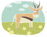 Hand drawn grunge illustration of cute antelope on background wi Royalty Free Stock Photo