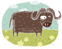 Hand drawn grunge illustration of cute buffalo on background wit Royalty Free Stock Image