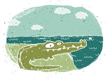 Hand drawn grunge illustration of cute crocodile on background Royalty Free Stock Image