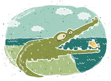 Hand drawn grunge illustration of cute crocodile on background Royalty Free Stock Photo