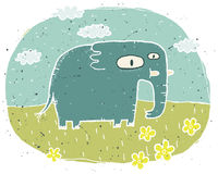 Hand drawn grunge illustration of cute elephant on background wi Royalty Free Stock Photo