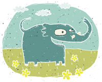 Hand drawn grunge illustration of cute elephant on background wi Stock Image