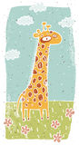 Hand drawn grunge illustration of cute giraffe on background Stock Image