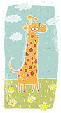 Hand drawn grunge illustration of cute giraffe on background Royalty Free Stock Image