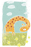 Hand drawn grunge illustration of cute giraffe on background Royalty Free Stock Images