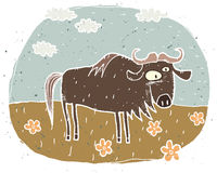 Hand drawn grunge illustration of cute gnu on background with fl. Owers and clouds. Illustration is in eps8  mode Royalty Free Stock Images
