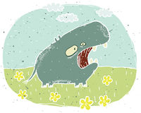 Hand drawn grunge illustration of cute hippo on background with Stock Image