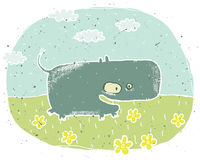 Hand drawn grunge illustration of cute hippo on background with Stock Photos