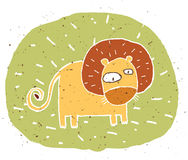 Hand drawn grunge illustration of cute lion on background Stock Photography