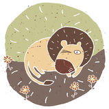 Hand drawn grunge illustration of cute lion on floral background Royalty Free Stock Photos