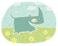 Hand drawn grunge illustration of cute rhino on background with Royalty Free Stock Photo