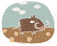 Hand drawn grunge illustration of cute warthog on background wit Stock Photos