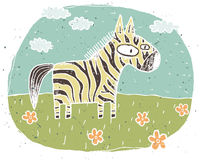 Hand drawn grunge illustration of cute zebra on background with Stock Photos