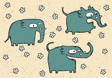 Hand drawn grunge illustration set of cute elephants Royalty Free Stock Photos