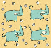 Hand drawn grunge illustration set of four cute rhinos and flowe Stock Photos
