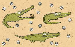 Hand drawn grunge illustration set of three cute crocodiles on f Royalty Free Stock Photography