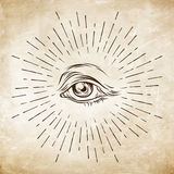 Hand-drawn grunge sketch Eye of Providence. Masonic symbol. All seeing eye. New World Order. Conspiracy theory. Alchemy, religion, Stock Photos